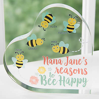 Bee Happy Grandma Personalized Colored Heart Keepsake