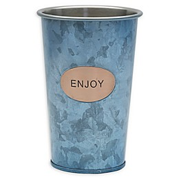 "Towle Living™ ""Enjoy"" 16 oz. Galvanized Iron Tumbler in Blue"