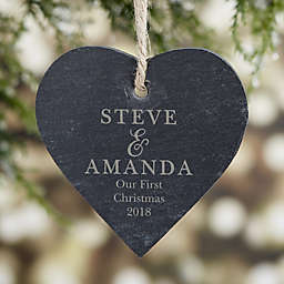 So In Love Engraved Couple Slate Ornament
