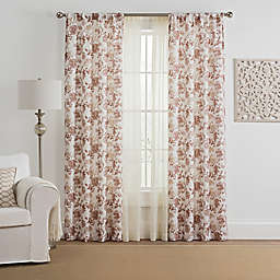 Marakesh 4-Pack Printed Voile 108-Inch Rod Pocket Window Curtain Panels in Berry