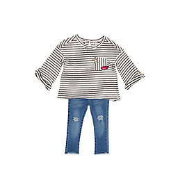 Jessica Simpson 2-Piece Striped Top and Jean Set in Ivory