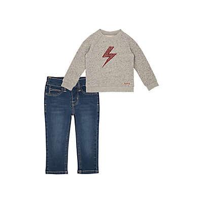 Hudson Kids 2-Piece Lightning Shirt and Denim Jean Set in Light Grey