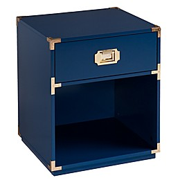 Southern Enterprises Campaign 1-Drawer Side Table in Navy