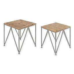 Kate and Laurel Uzma Nesting Tables in Silver (Set of 2)