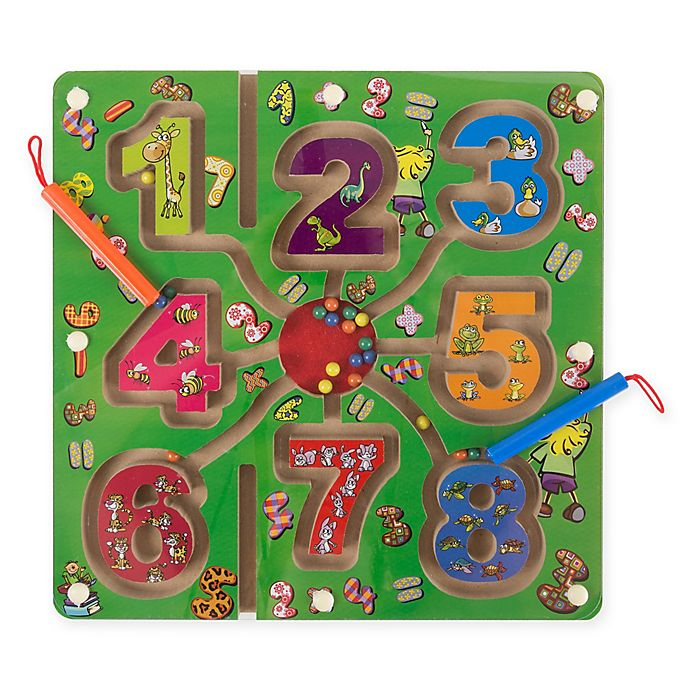 Alternate image 1 for Hey! Play! Magnetic Number Wooden Maze