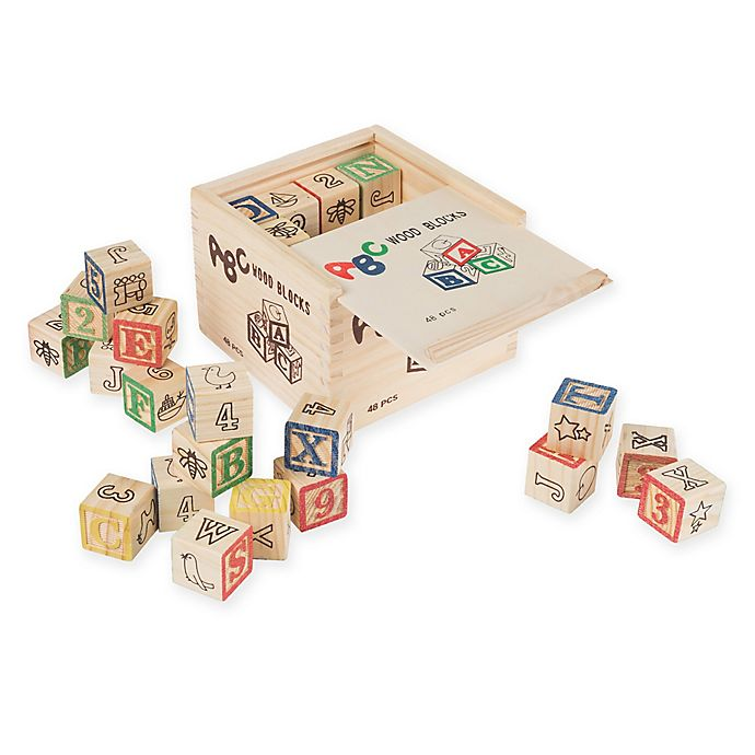 Alternate image 1 for Hey! Play! 48-Piece ABC and 123 Wooden Blocks Set