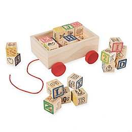 Hey! Play! 30-Piece ABC and 123 Wooden Blocks Pull Cart Set