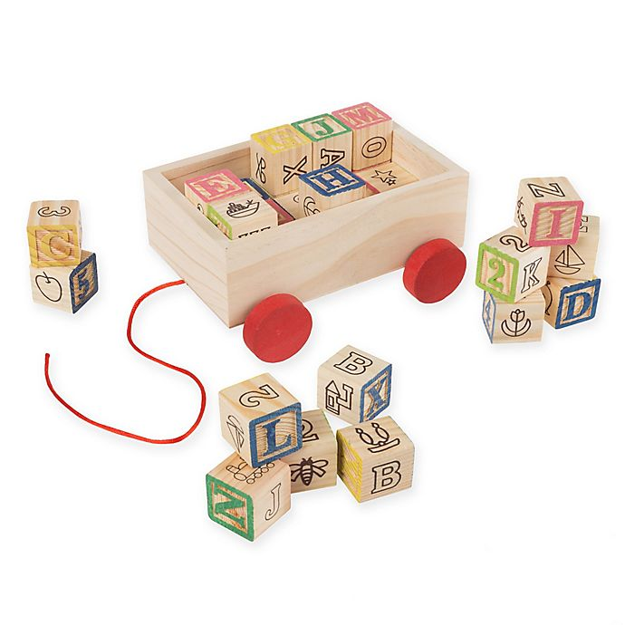 Alternate image 1 for Hey! Play! 30-Piece ABC and 123 Wooden Blocks Pull Cart Set