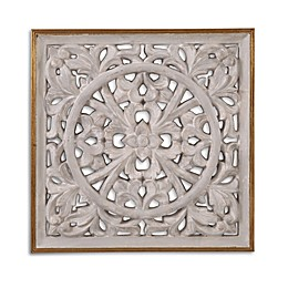 Bassett Mirror Company Jasper Wall Medallion Canvas Wall Art in White/Gold