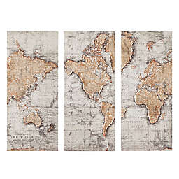 Madison Park Map of the World 35-Inch x 15-Inch Wall Art in Natural (Set of 3)