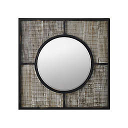 Forest Gate Solid Wood 32-Inch Square Rustic Grey Wall Mirror
