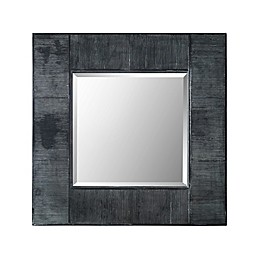Forest Gate Solid wood 32-Inch Square Wall Mirror in Grey Wash