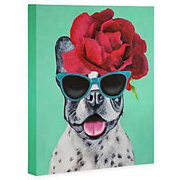Deny Designs 8-Inch x 10-Inch Coco de Paris French Bulldog Turquoise Canvas Wall Art