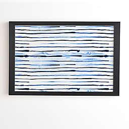 Deny Designs Indigo Ink Stripes 20-Inch x 20-Inch Framed Wall Art