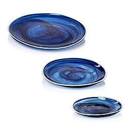 Zodax Monte Carlo Glass Plate in Indigo/Alabaster