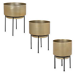 Kate and Laurel Indya Round Metal Planter with Stand