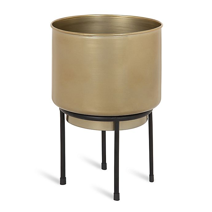 Alternate image 1 for Kate and Laurel Indya 8-Inch Round Metal Planter with Stand