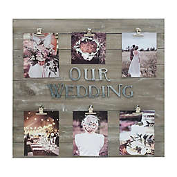 Sixtrees® Pallet Wedding Photo Clip Frame in Wood