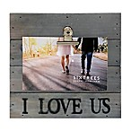 Sixtrees® I Love Us 4-Inch x 6-Inch Pallet Wood Clip Picture Frame in Grey