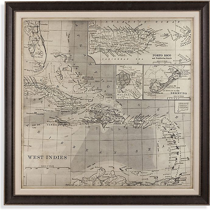 Alternate image 1 for Vintage Caribbean Map 65-Inch Square Framed Canvas Wall Art
