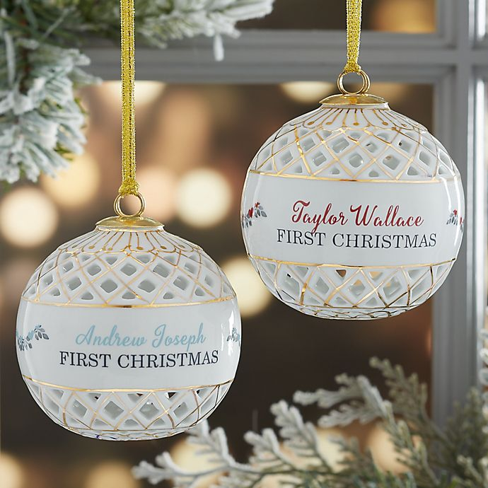 Babys 1st Christmas Personalized Ball Ornament View A Larger Version Of This Product Image