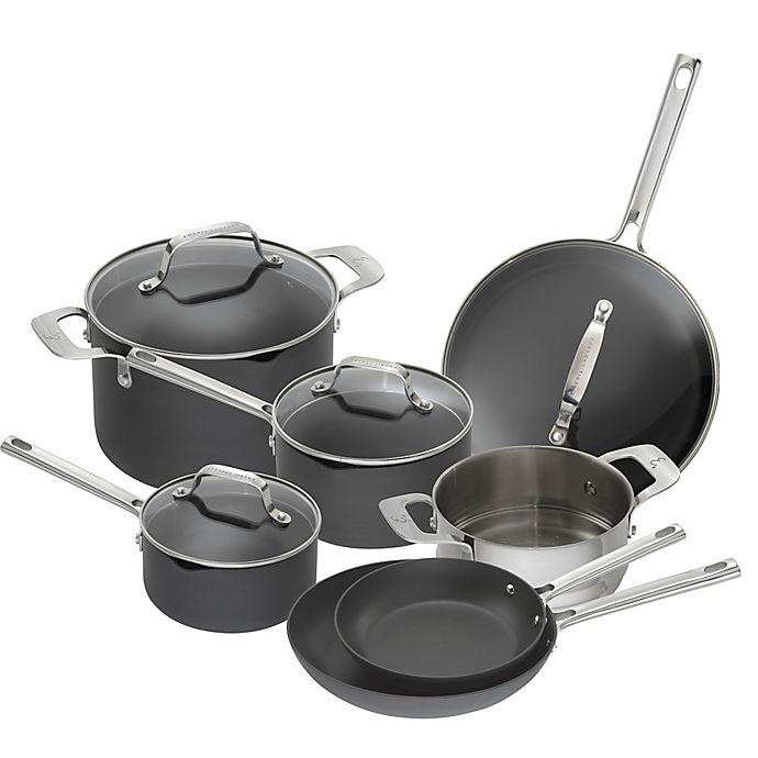 Alternate image 1 for Emeril™ Essential Hard Anodized 11-Piece Cookware Set in Black