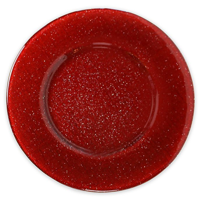 Alternate image 1 for Villeroy and Boch Glass Charger Plate in Red Glitter
