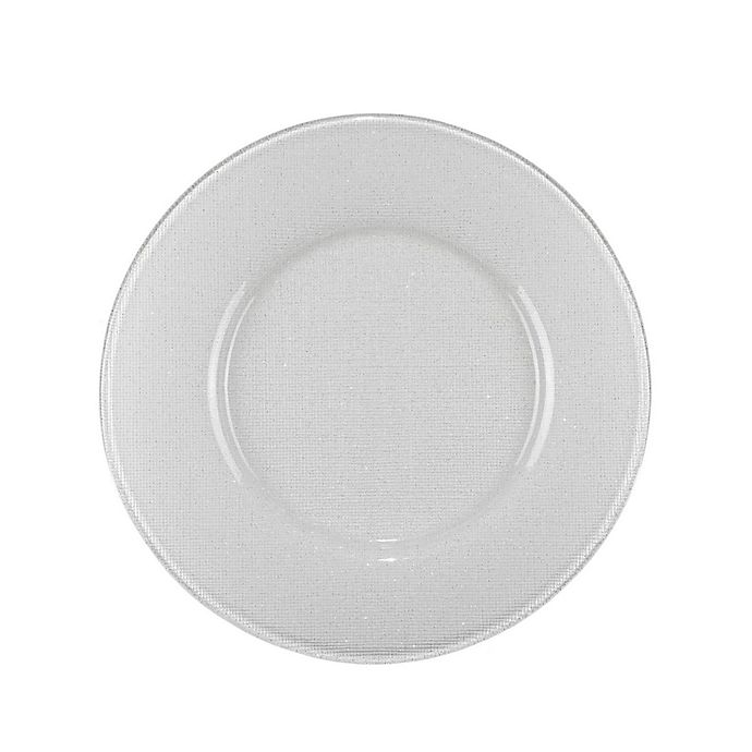Alternate image 1 for Villeroy and Boch Glass Charger Plate in White Glitter