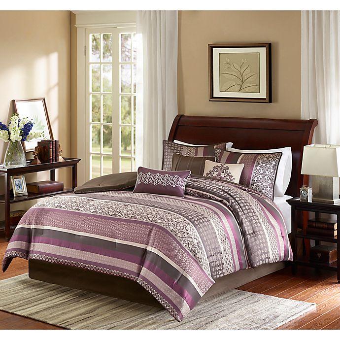 Alternate image 1 for Madison Park Princeton 7-Piece Reversible Queen Comforter Set in Purple/Brown