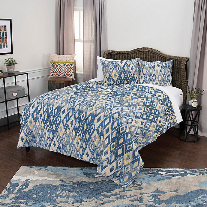 Alternate image 1 for Rizzy Home Asher Queen Quilt Set in Blue/Yellow