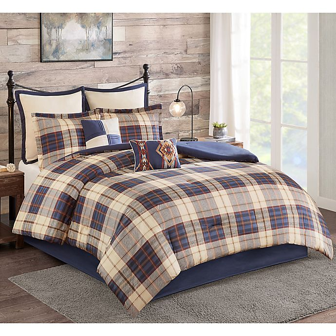 Alternate image 1 for Evergreen 8-Piece Queen Comforter Set in Navy