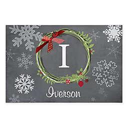 """Christmas Wreath 18"""" x 27"""" Door Mat in Grey"""