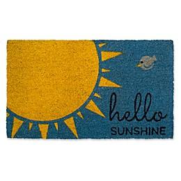 "Design Imports Hello Sunshine 18"" x 30"" Coir Door Mat in Blue"