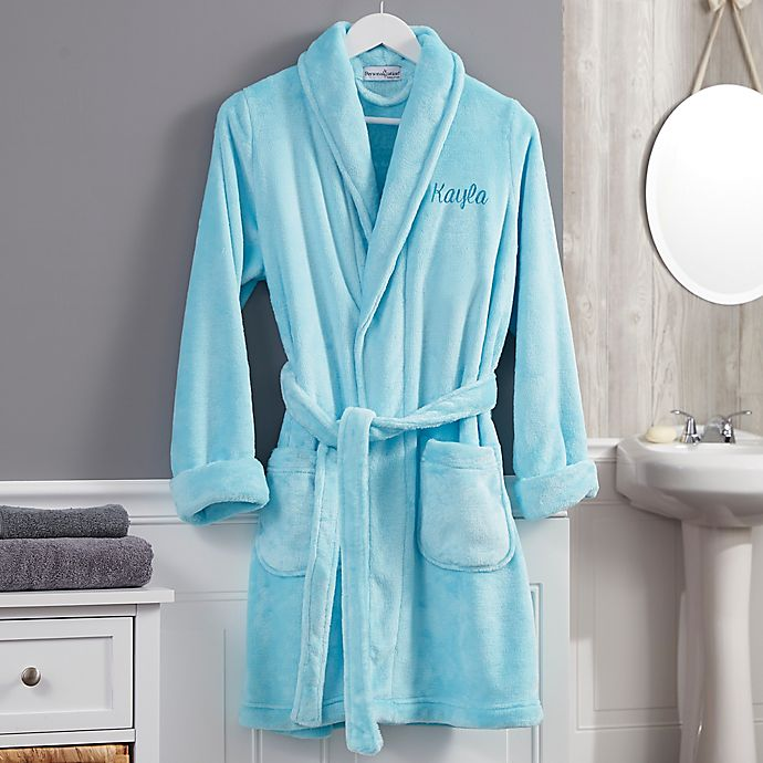 Alternate image 1 for Classic Embroidered Short Fleece Robe