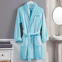 Classic Embroidered Short Fleece Robe