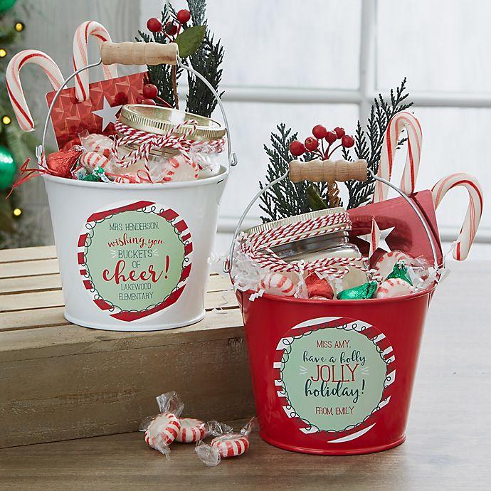 Diy Gift Idea Day Teacher Home Art Decor: Holly Jolly Personalized Mini Metal Teacher Bucket