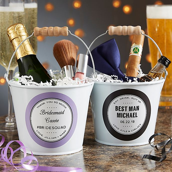 Alternate image 1 for Wedding Party Favor Personalized Mini Metal Bucket