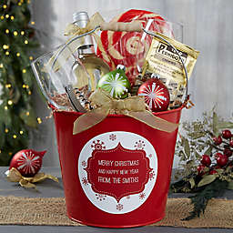 Christmas Snowflakes Personalized Metal Gift Bucket