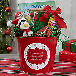 Merry Christmas Personalized Metal Gift Bucket