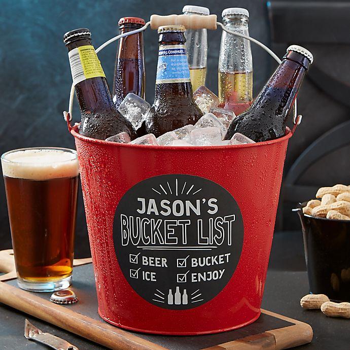 Alternate image 1 for Bucket List Personalized Red Metal Beer Bucket