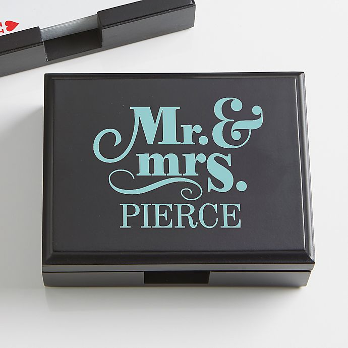 Alternate image 1 for Happy Couple Personalized Wood Playing Card Box