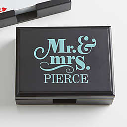 Happy Couple Personalized Wood Playing Card Box