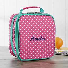 Pink Polka Dot Embroidered Lunch Box