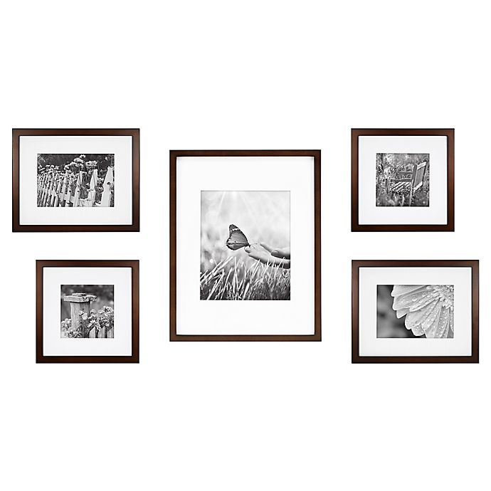 Alternate image 1 for 5-Piece Gallery Picture Frame Web in Walnut