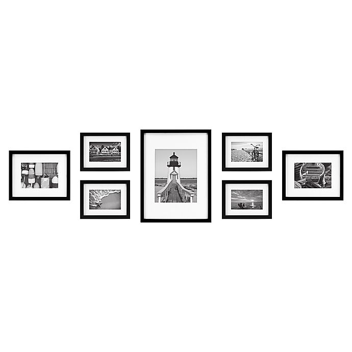 Alternate image 1 for 7-Piece Gallery Picture Frame Web in Black