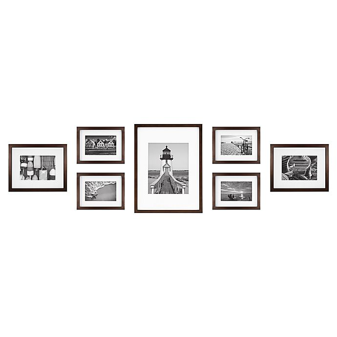 Alternate image 1 for 7-Piece Gallery Wood Picture Frame Set in Walnut