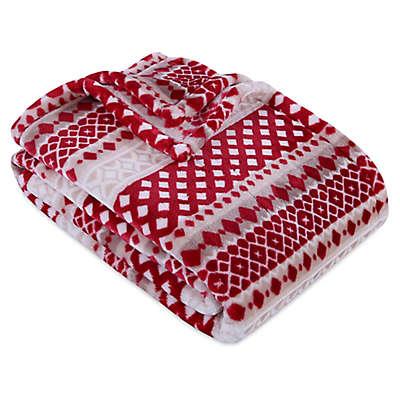 VelvetLoft® Fair Isle Plush Throw Blanket in Red