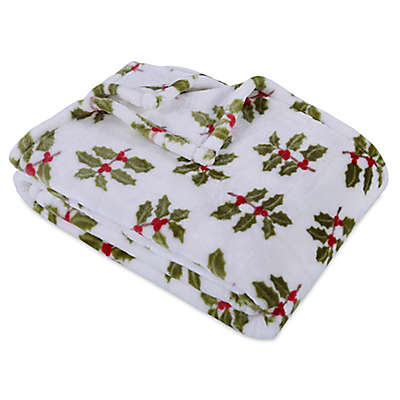 Berkshire Blanket® Ultra Velvetloft® Holly Branches Throw Blanket  in White