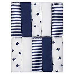 Just Born® Pom Pom 10-Pack Terry Washcloths in Navy/White
