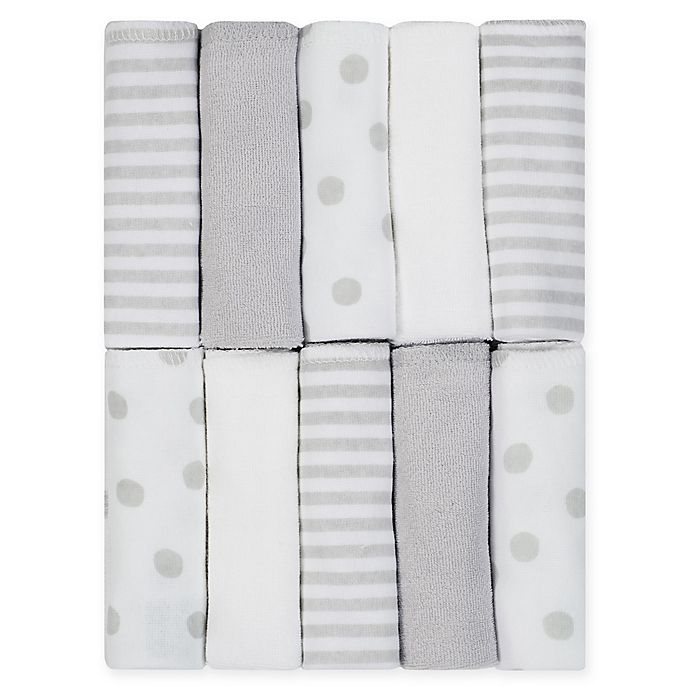 Alternate image 1 for Just Born® Pom Pom 10-Pack Terry Washcloths in Grey/White